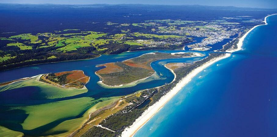 Image of Lakes Entrance from above.